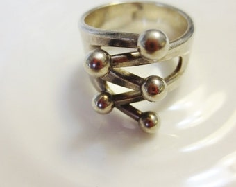 Vintage Ring Modernist Anna Greta Eker Jester Norway Sterling Silver Norwegian Jewelry