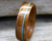 Santos Rosewood Bentwood Ring with Offset Turquoise Inlay - Handcrafted Wooden Ring