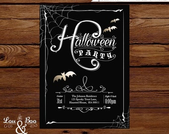 Halloween custom Printable Invitation - Goth Glam halloween invitation