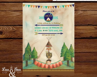 Printable Teepee Campfire Custom Birthday Party Invitation, camping birthday party, teepee, woodland, bow and arrow