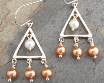 Pearl Sterling Silver Earrings -Little Triangles