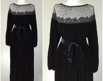 Vintage 1970s Dress Victor Costa Black Velvet Lace Polka Dot Gown Dress