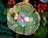 """Birdbath / feeder / sculpture (stands over shrubs/flowers) - Hardy Water Lily 10x10"""" - Leaf #3077 in violets and pinks"""