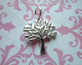 Shop Sale.. 2 5 10 pcs, 925 Sterling Silver TREE Charm Pendant, Family Tree of Life, 17x15 mm, woodland nature artisan wholesale solo tol15