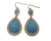 Boho Earrings, Blue Gold Vintage Earrings, Shabby Chic, Gypsy, Enameled, Statement, Big Dangles, Bohemian, Vintage Jewelry, Pierced, Exotic