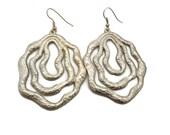 Silver Earrings,Vintage Earrings, Textured Silver, Big Statement, Boho Gypsy, Long Earrings, Dangle Earrings, Bohemian, Modern, Mod, Retro