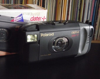 1990's Polaroid Captiva Date + SLR Instant Film Camera with Original Box and Soft Case