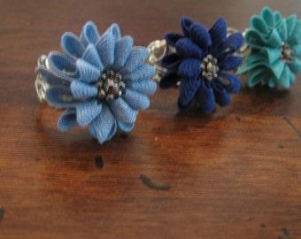 flower ring / blue, aqua, light blue / adjustable