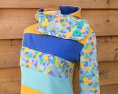 STAINED GLASS - Hoodie Sweatshirt Sweater - Recycled Upcycled - One of a Kind Women - MEDIUM