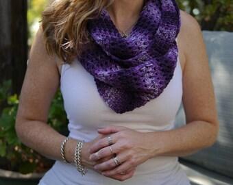 Infinity Scarf, Elizabeth Cowl, Purple Cowling, Shades of Purple Scarf, Handmade Crochet
