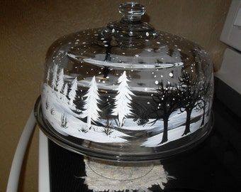 Snow scene Cake Plate and Cover /winter/snow/Christmas/winter scene