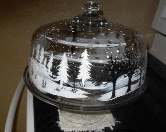 Snow scene Cake Plate and Cover /winter/snow/Christmas/winter scene
