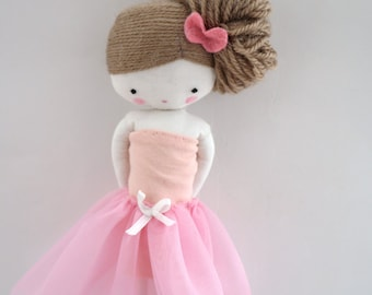 Ballerina rag doll - plush toy cloth art doll ballerina in pink tutu dancer ballet ooak made to order
