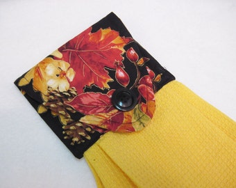 Hanging Towel button top towel hand towel Fall leaves gold Quilsy handmade