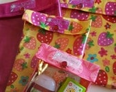Ouch Pouch Matching Strawberry Set - 4 Sizes 'Clear Pocket' Travel Bags Organize First Aid Baby Supplies Diapers/Wipes Toiletries Cosmetics