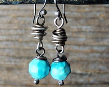 Artisan Handcrafted Turquoise Earrings, Artisan Jewelry, Bisbee Turquoise, Rustic Southwest, Urban Chic Jewelry, Artisan Gifts For Her