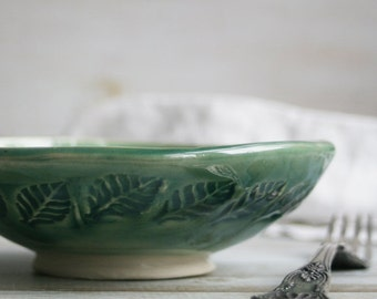 Rustic Shallow Stoneware Bowl with Leaf Motif in Green Glaze Stoneware Ceramic Pottery Bowl Ready to Ship Made in USA