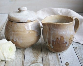 Rustic Sugar Bowl and Pitcher Set Handmade Stoneware Pottery in Creamy White and Ocher Glazes Made in USA Ready to Ship