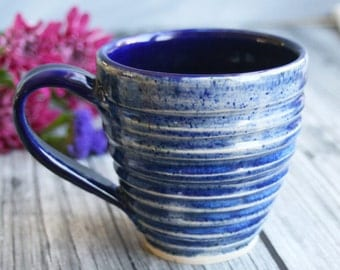 Large Rustic Blue Mug Handcrafted Pottery Mug Wheel Thrown Coffee Cup Ready to Ship Made in USA