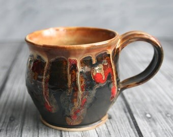 Handmade Pottery Mug in Dripping Gold, Red and Black Glazes Handmade Stoneware Coffee Cup Made in USA Ready to Ship
