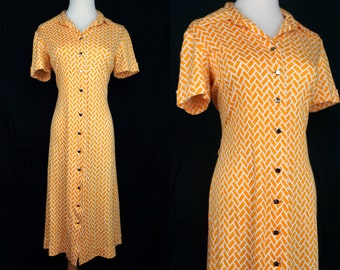 1960s Geometric Yellow Wiggle Dress Button Short Sleeve Calf Length Medium Op Art