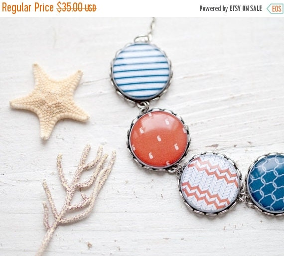 Nautical necklace - Red and blue - Sea jewelry (BN017)