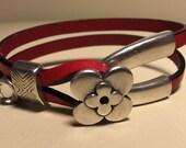 Women's red leather flower wishbone clasp bracelet