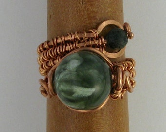 Wire wrapped seraphinite and peacock stone copper adjustable ring DTPD