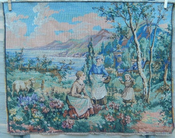 vintage Belgian tapestry, life in the country, country idyll, possible wallhanging or pillow, home decor, 1970's