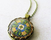 Long Mandala Glass Dome Necklace on Antique Brass Chain