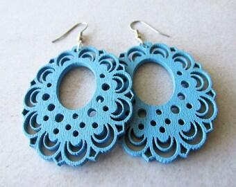 Light Blue Wooden Lace Earrings