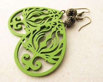 Apple Green Wooden Phoenix Earrings with Capped Black Glass Beads