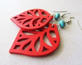 Red Wooden Leaf Charms and Turquoise Stone Beads