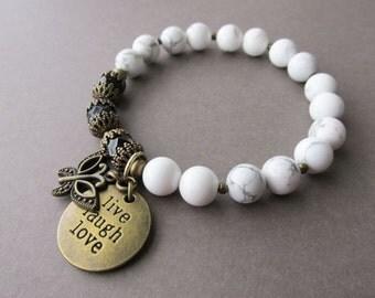 White Magnesite Beaded Charm Bracelet - live laugh love