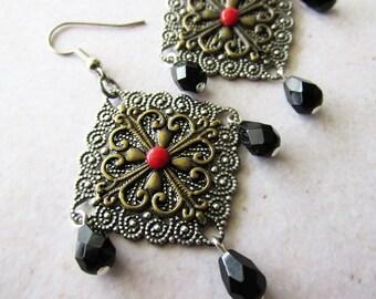 Filigree Stack and Black Glass Dangle Chandelier Earrings. Vintage Inspired
