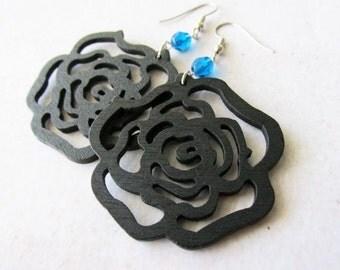 Black Wooden Rose and Capri Blue Glass Earrings