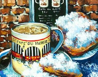Café du Monde Art, Café au Lait, Beignets at Jackson Square, French Quarter Painting, New Orleans Café Scene  - 'Beignets and Café  au Lait'