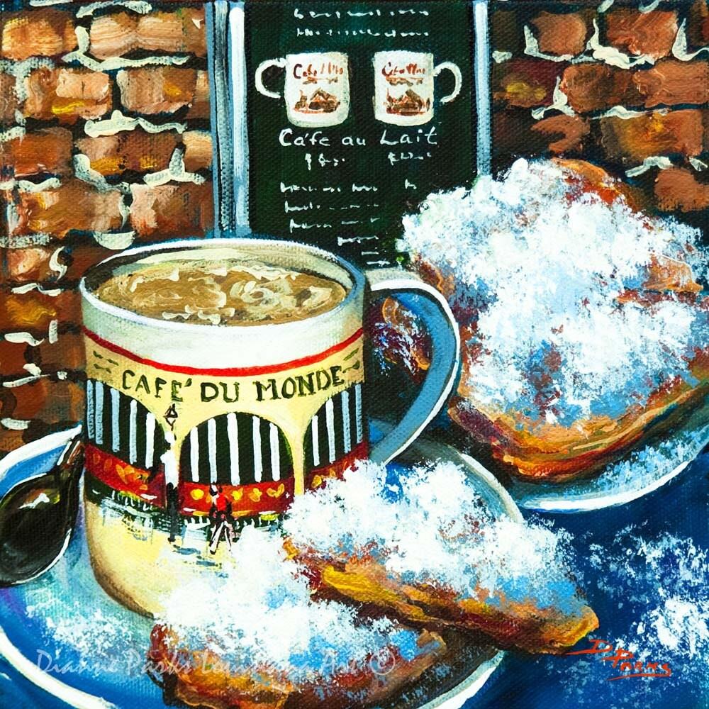 Cafe du monde art cafe au lait beignets at by dianneparksart for Art du monde