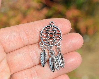 BULK 20 Silver Dream Catcher Connector Charms SC3477