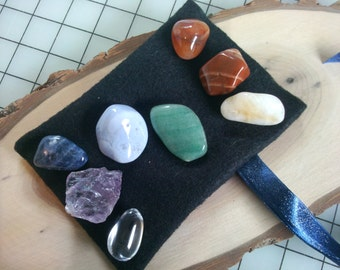 7 Chakra Stone Set with Bonus Clear Quartz with Felt Carry Pouch