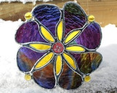 Stained Glass Flower Suncatcher in Purple, Blue, Yellow, Amber and Green