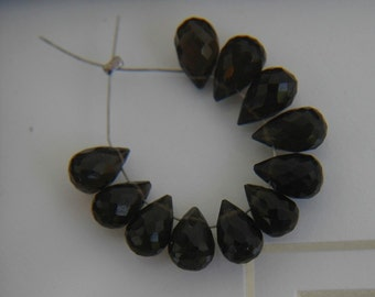 Dark Smokey Quart Faceted Teardrop Briolettes (11)