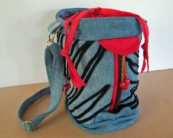 Bucket bag, blue denim, long adjustable handle, crossbody bag, blue and red bag