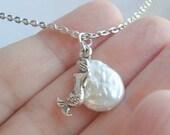 Mermaid Necklace Silver Mermaid Pendant Pearl Necklace Mermaid with Coin Pearl Beach Necklace Mermaid Jewelry