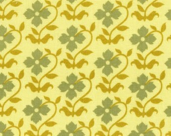 Buttercup Fabric, Joel Dewberry Chestnut Hill, Floral Pattern, forest yellow and green, yardage, choose size of cut