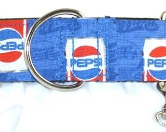 1.5 inch Pepsi greyhound martingale dog collar, blue, red, cola, soda pop, soda can, collar with tag keeper--Pepsi