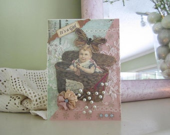 Victorian Baby Girl Card - Handmade Welcome Baby Girl Card - It's a Girl Card