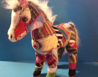 Felted wool stitched donkey  horse plush  with felted sweaters and wool yarn