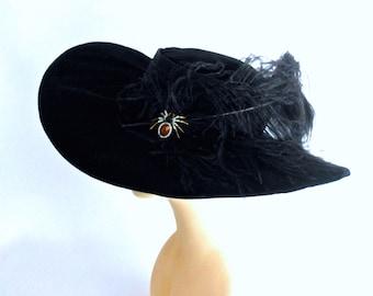 Theodora Witch Cavalier Hat in Black Velvet