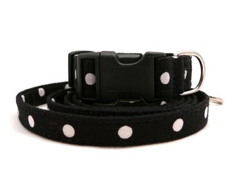 ON SALE-- Black and white polka dots puppy/xs/xxs dog collar and leash SET